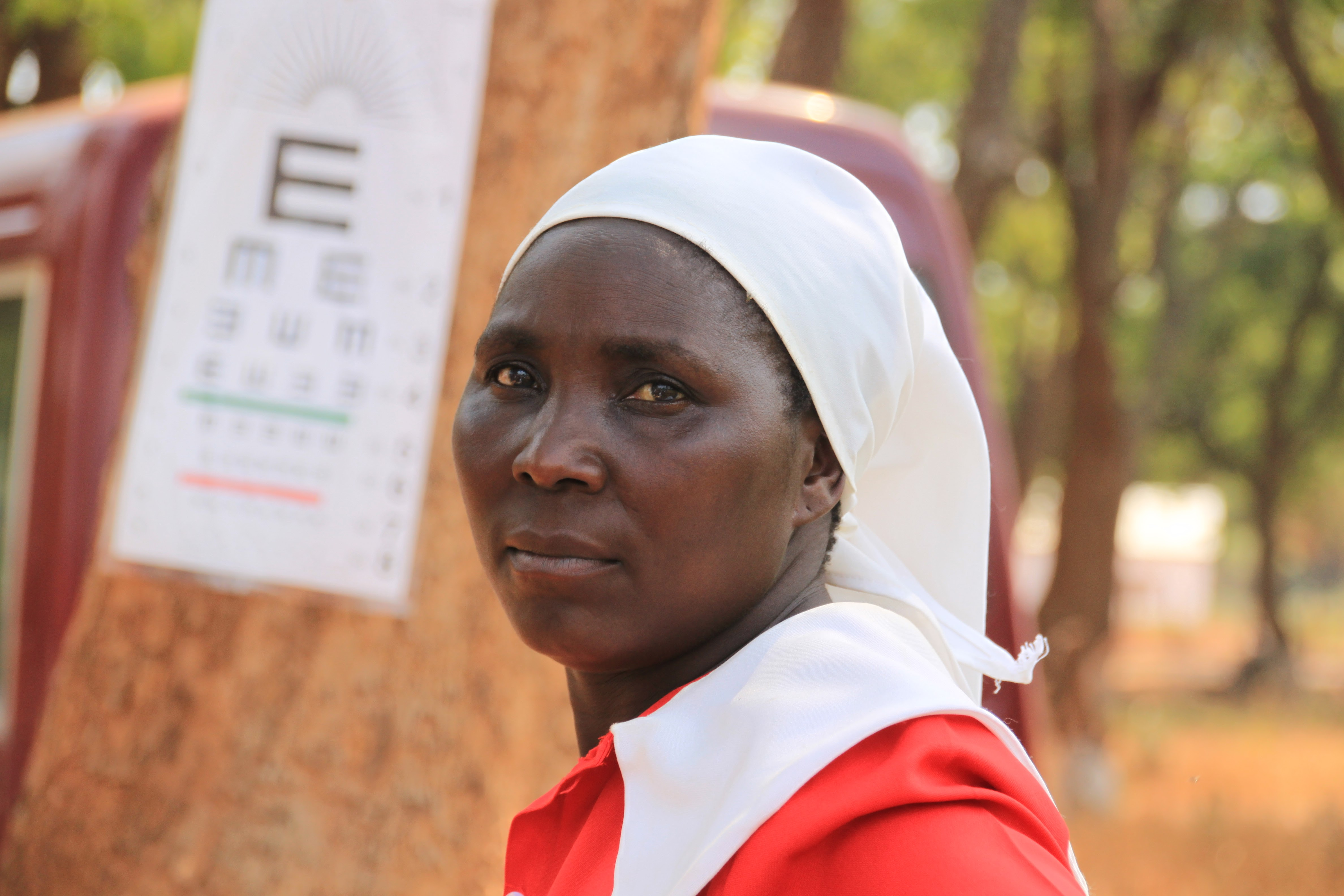 An African lady at an eye screening