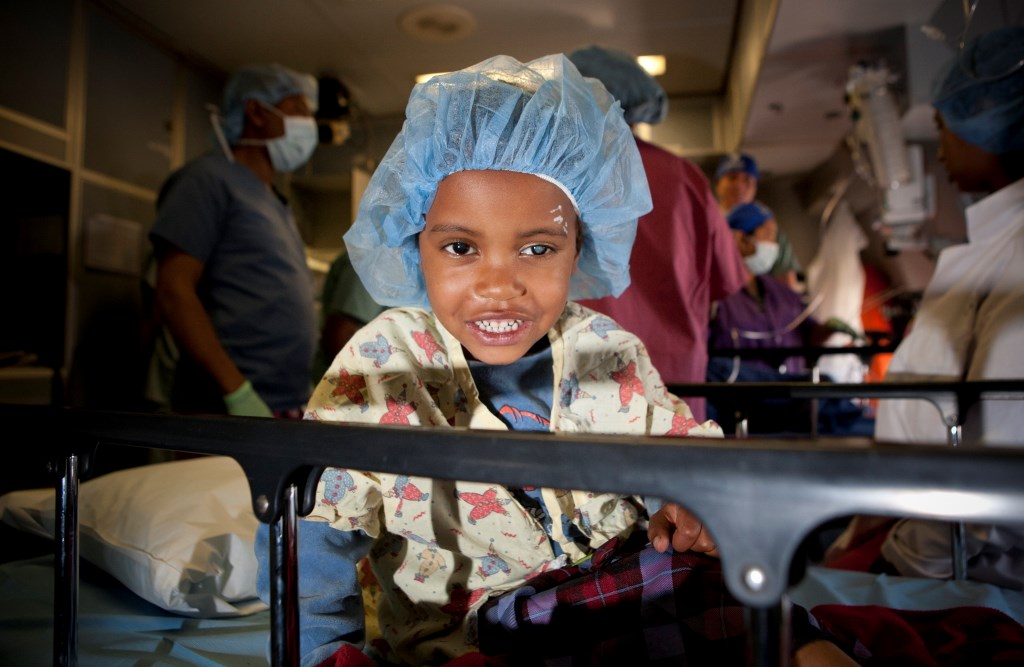 Picture of a child at an eye hospital